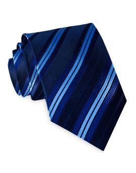 Black with Navy and Sky Blue Stripes Mens Tie