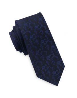 Black with Navy Blue Floral Pattern Mens Skinny Tie