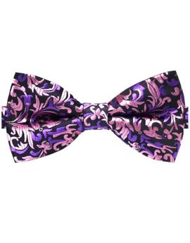 Black with Pink & Purple Floral Bow Tie
