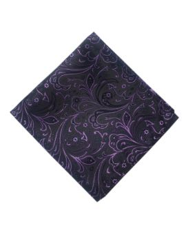 black with purple floral pocket square