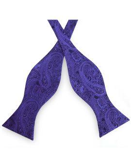 Black with Purple Paisley Self Tie Bow Tie
