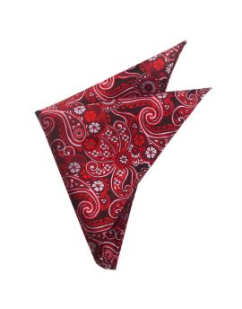 Black with Red & White Floral Paisley Pocket Square
