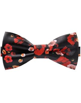 Black with Red Floral Bicast Leather Bow Tie