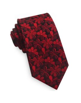 Black with Red Floral Men's Slim Tie