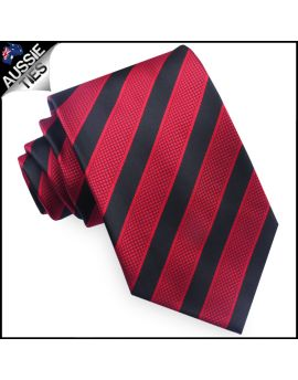Black with Textured Red Stripes Mens Tie