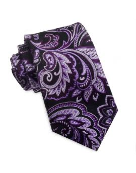 black with shades of purple floral tie