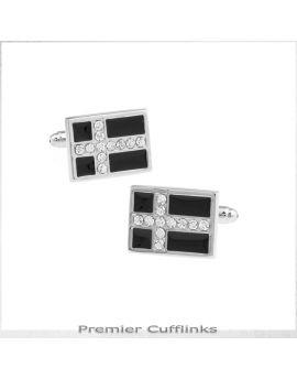 Black with Silver Diamante Cross Cufflinks