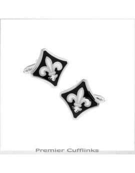 Black with Silver Fleur De Lis Cufflinks