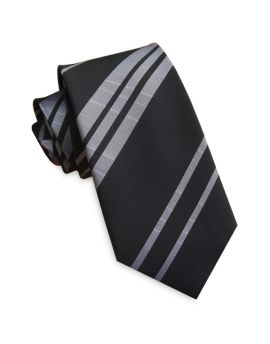 Black with Silver Stripes Slim Tie