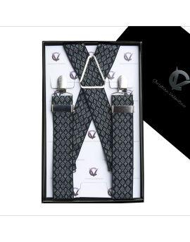Black with White Diamonds Large Braces X3.5cm