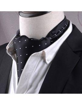 black with white polka dots ascot