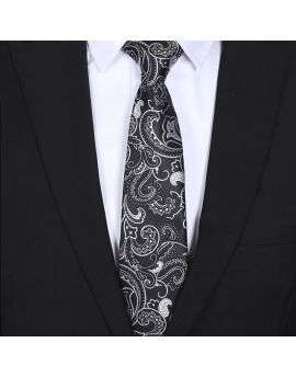 mens black and white floral tie