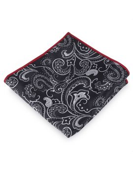 Black with White Floral Pocket Square
