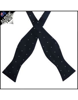 Black Pin Dot Self Tie Bow Tie