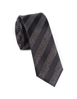 Black with White Specks Stripes Skinny Tie