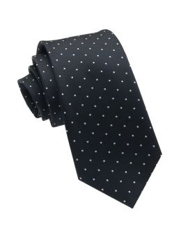 Black with White Square Polka Dots Slim Tie