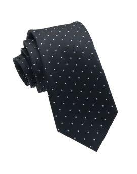 Black with White Square Polka Dots Slim Tie
