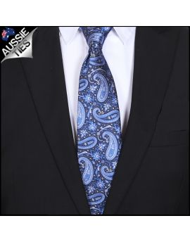 Black with Royal Blue & White Paisley Mens Tie