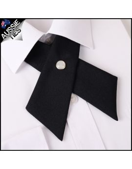 Black Womens Cross Style Bow Tie