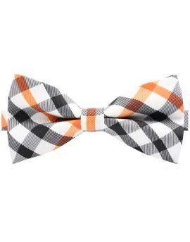 Black, Grey, Orange & White Check Bow Tie