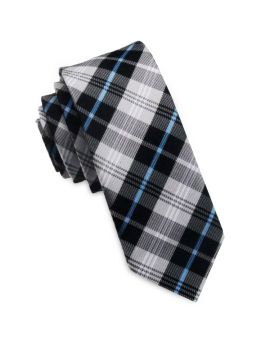 Black, Grey, White & Blue Plaid Skinny Tie