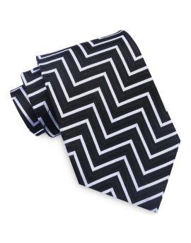 Black, White & Grey Zigzags Mens Tie