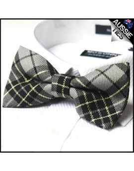 Grey, Black & Gold Tartan Bow Tie