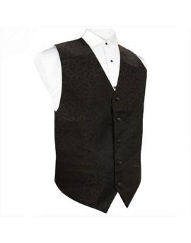 Black on Black Floral Waistcoat Vest