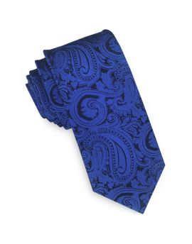 Blue & Black Paisley Mens Skinny Tie