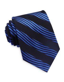 Blue and Black Waves Mens Tie