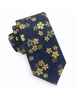 blue with gold floral tie