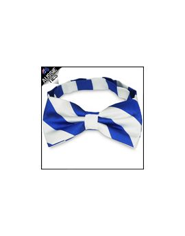 Mens Royal Blue & White Stripes Bow Tie