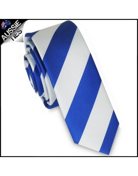 Mens Royal Blue & White Stripes Skinny Tie