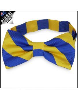 Mens Blue & Yellow Stripes Bow Tie