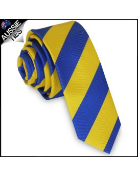 Mens Blue & Yellow Stripes Skinny Tie