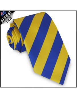 Mens Blue & Yellow Stripes Sports Tie