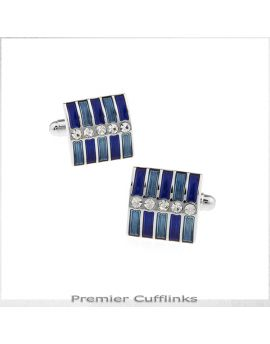 Blue Bands Diamante Cufflinks