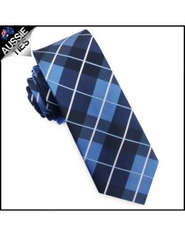 Blue, Black & White Check Plaid Mens Skinny Tie
