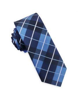 Blue, Black & White Check Plaid Mens Skinny Tie