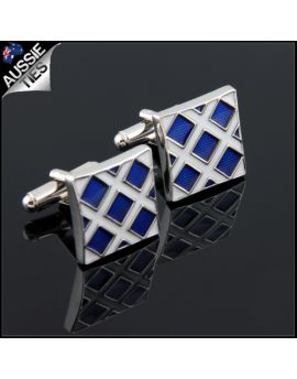 Mens Blue Crosshatch Cufflinks