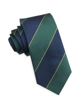 Blue, Green & Gold Stripes Mens Tie