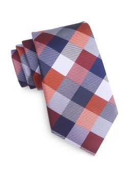 Blue, Orange, Red, White & Grey Diamonds Tie