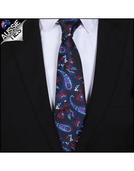Blue, Pink, Red & White Floral Paisley Mens Tie