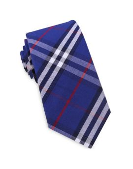 Royal Blue, Red & White Tartan Plaid Slim Tie