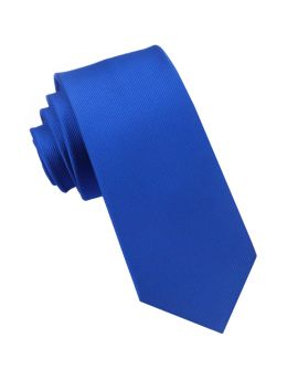Royal Blue Ribbed 6cm Mens Slim Tie