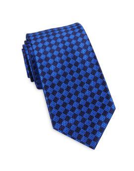 Blue Textured Diamonds Slim Tie