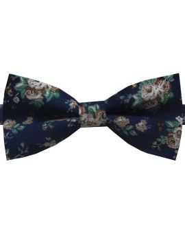 navy with floral bow tie