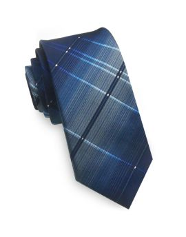 Blue with Crosshatch Diamonds Skinny Tie