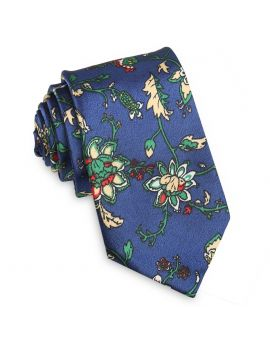 blue with tan and white floral tie