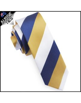 Mens Blue, Yellow & White Stripes Skinny Tie